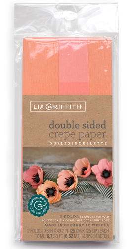 Doublettekrepppapier Honeysuckle/Coral & Apricot/Light Rose