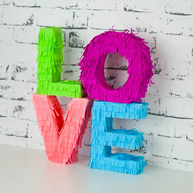 Letters made of crepe paper
