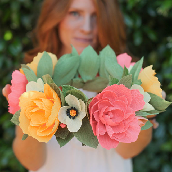 Floral wreath made of crepe paper