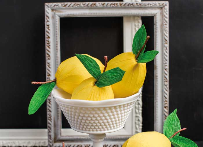 Lemons made of crepe paper